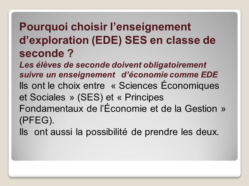 Pourquoi choisir lenseignement dexploration (EDE) SES en classe de seconde ? Les élèves de seconde doivent obligatoirement suivre un enseignement déco