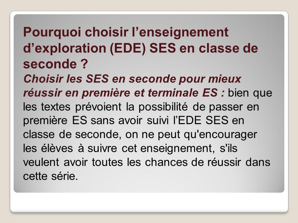 Pourquoi choisir lenseignement dexploration (EDE) SES en classe de seconde ? Choisir les SES en seconde pour mieux réussir en première et terminale ES