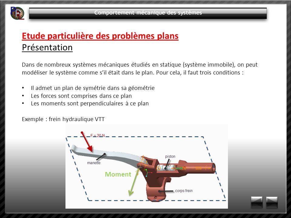 Etude particulière des problèmes plans Présentation Dans de nombreux systèmes mécaniques étudiés en statique (système immobile), on peut modéliser le