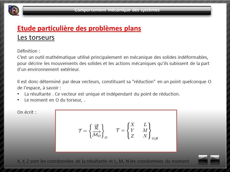 Etude particulière des problèmes plans Les torseurs Définition : Cest un outil mathématique utilisé principalement en mécanique des solides indéformab