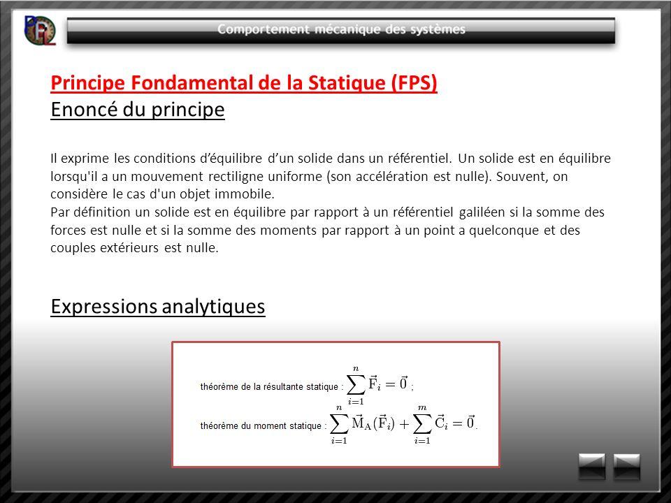 Principe Fondamental de la Statique (FPS) Enoncé du principe Il exprime les conditions déquilibre dun solide dans un référentiel. Un solide est en équ