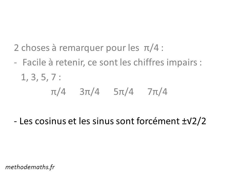 2 choses à remarquer pour les π/4 : -Facile à retenir, ce sont les chiffres impairs : 1, 3, 5, 7 : π/4 3π/4 5π/4 7π/4 - Les cosinus et les sinus sont