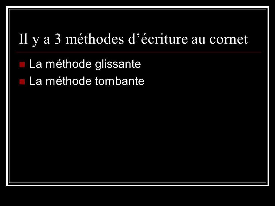 Il y a 3 méthodes décriture au cornet La méthode glissante La méthode tombante