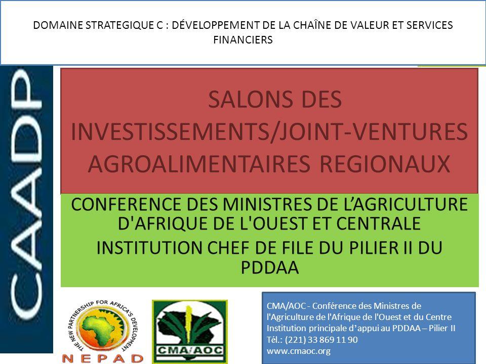 SALONS DES INVESTISSEMENTS/JOINT-VENTURES AGROALIMENTAIRES REGIONAUX CONFERENCE DES MINISTRES DE LAGRICULTURE D'AFRIQUE DE L'OUEST ET CENTRALE INSTITU