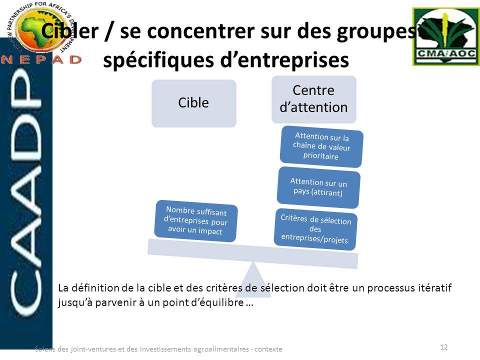 Cibler / se concentrer sur des groupes spécifiques dentreprises Cible Centre dattention Critères de sélection des entreprises/projets Attention sur un
