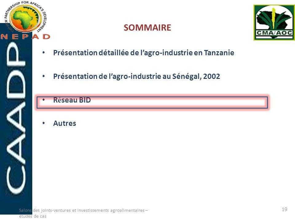SOMMAIRE Présentation détaillée de lagro-industrie en Tanzanie Présentation de lagro-industrie au Sénégal, 2002 R é seau BID Autres Salons des joints-