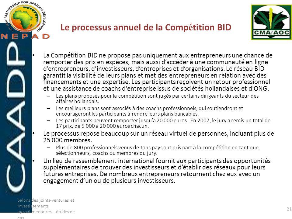 Le processus annuel de la Comp é tition BID La Compétition BID ne propose pas uniquement aux entrepreneurs une chance de remporter des prix en espèces