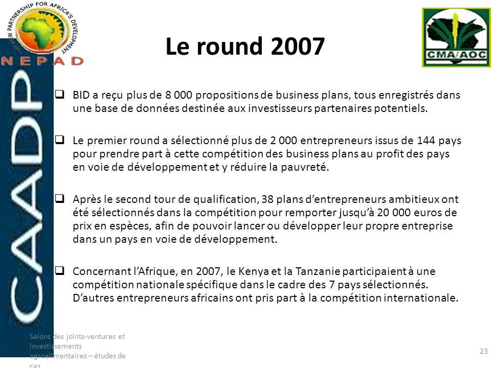 Le round 2007 BID a reçu plus de 8 000 propositions de business plans, tous enregistrés dans une base de données destinée aux investisseurs partenaire
