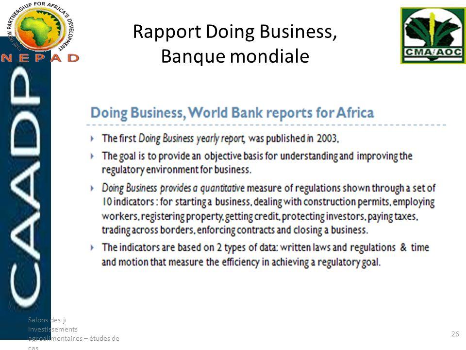 Rapport Doing Business, Banque mondiale Salons des joints-ventures et investissements agroalimentaires – études de cas 26