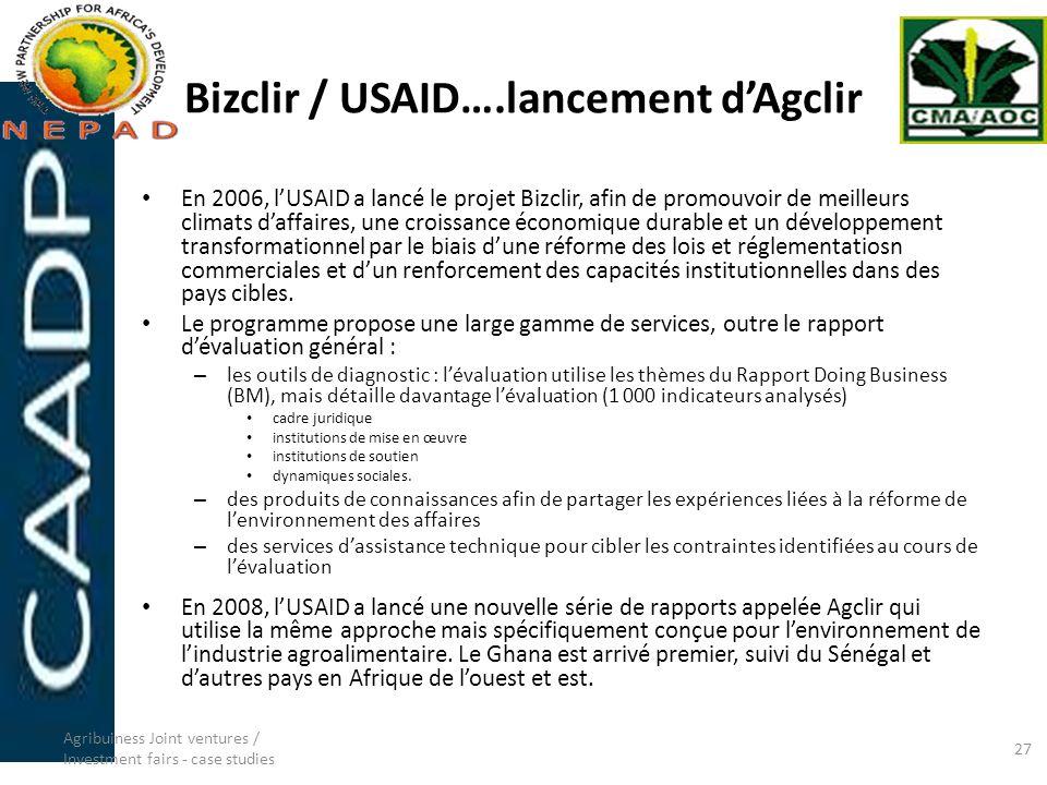 Bizclir / USAID….lancement dAgclir En 2006, lUSAID a lancé le projet Bizclir, afin de promouvoir de meilleurs climats daffaires, une croissance économ