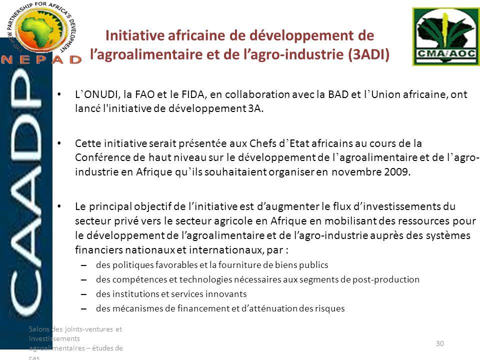 Initiative africaine de développement de lagroalimentaire et de lagro-industrie (3ADI) L ONUDI, la FAO et le FIDA, en collaboration avec la BAD et l U