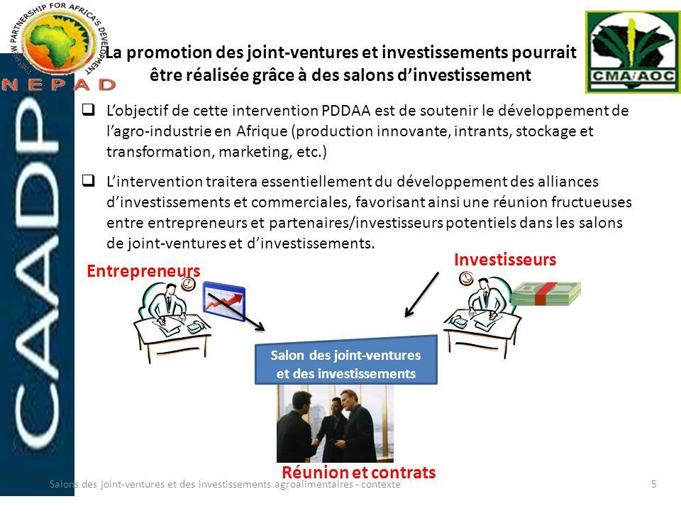La promotion des joint-ventures et investissements pourrait être réalisée grâce à des salons dinvestissement Lobjectif de cette intervention PDDAA est