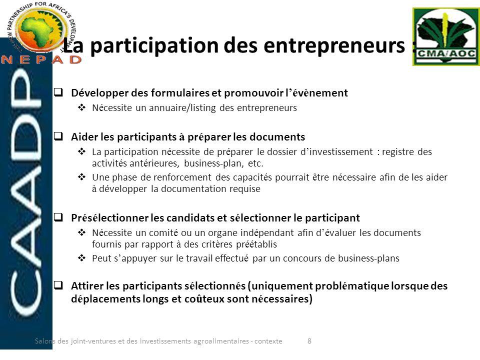 La participation des entrepreneurs : Développer des formulaires et promouvoir l é v è nement N é cessite un annuaire/listing des entrepreneurs Aider l