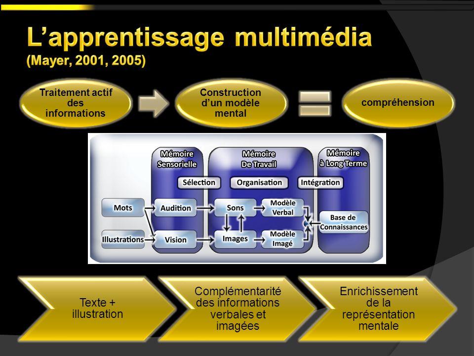 Texte + illustration Complémentarité des informations verbales et imagées Enrichissement de la représentation mentale Traitement actif des information