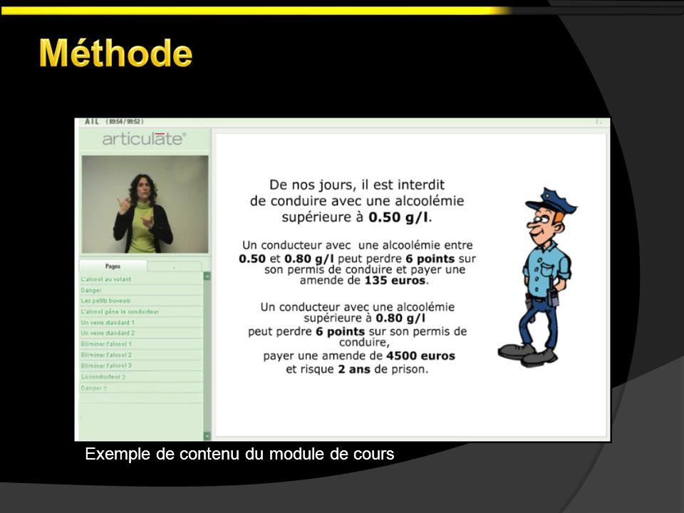 Exemple de contenu du module de cours