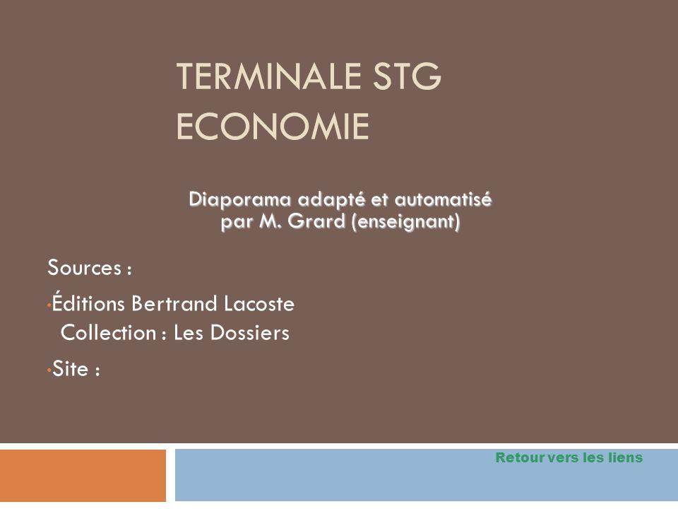 TERMINALE STG ECONOMIE Sources : Éditions Bertrand Lacoste Collection : Les Dossiers Site : Diaporama adapté et automatisé par M. Grard (enseignant) R