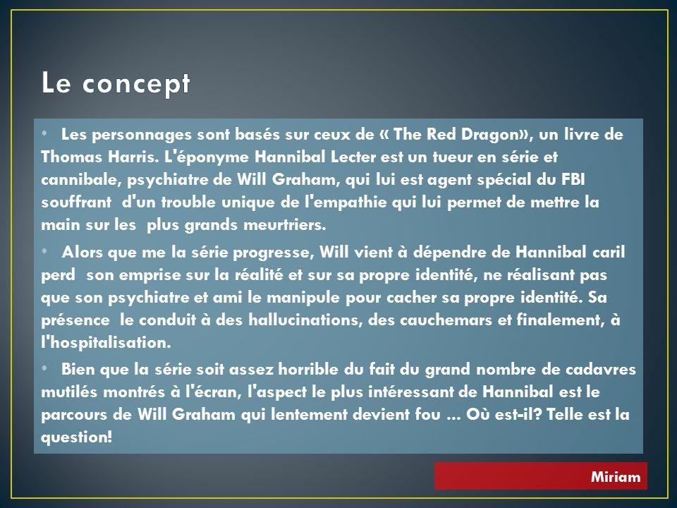 Les personnages sont basés sur ceux de « The Red Dragon», un livre de Thomas Harris. L'éponyme Hannibal Lecter est un tueur en série et cannibale, psy