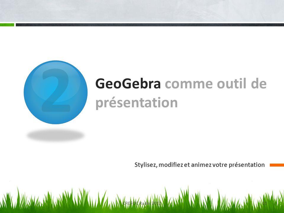 2 GeoGebra comme outil de présentation Stylisez, modifiez et animez votre présentation CREFOC Radès 201211