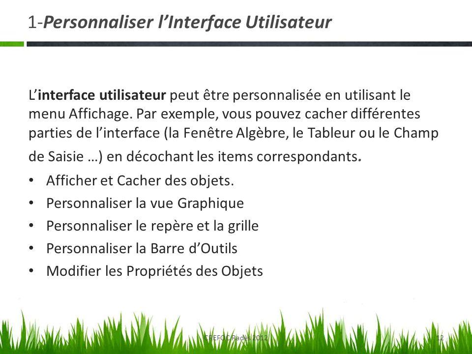 1-Personnaliser lInterface Utilisateur Linterface utilisateur peut être personnalisée en utilisant le menu Affichage. Par exemple, vous pouvez cacher