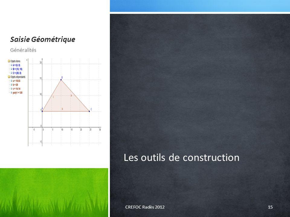 Saisie Géométrique Les outils de construction Généralités CREFOC Radès 201215
