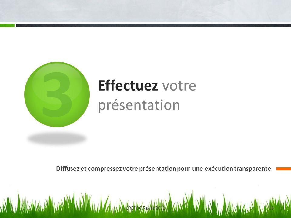 3 Effectuez votre présentation Diffusez et compressez votre présentation pour une exécution transparente CREFOC Radès 201216