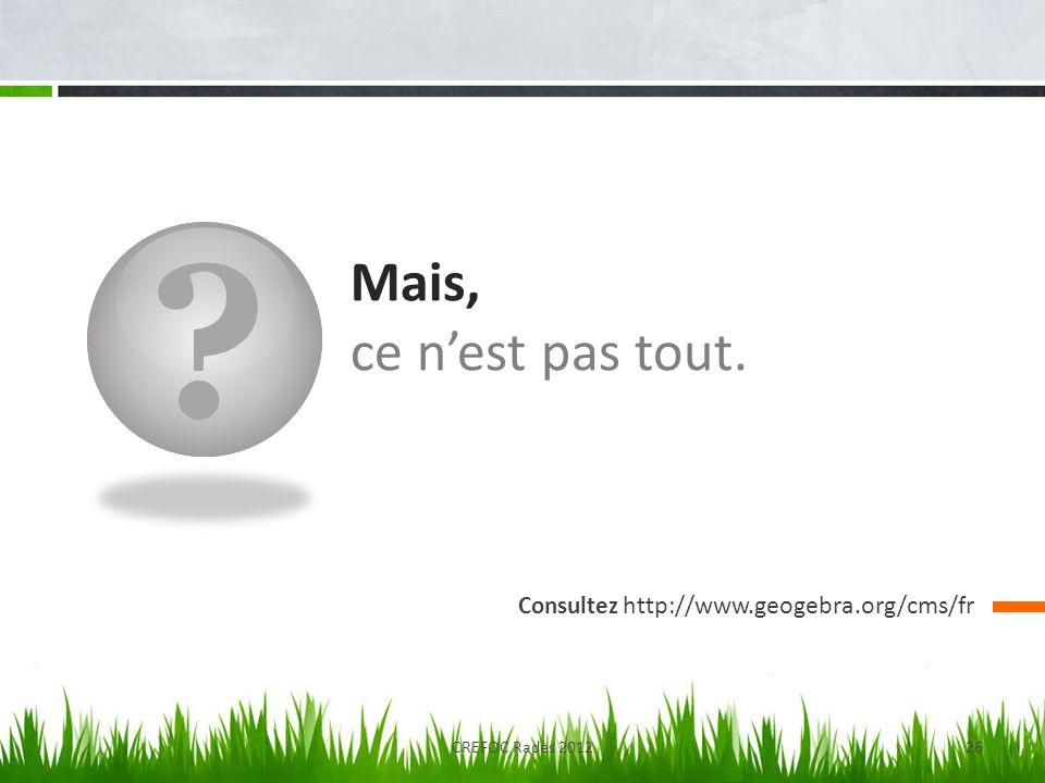 ? Mais, ce nest pas tout. Consultez http://www.geogebra.org/cms/fr CREFOC Radès 201226