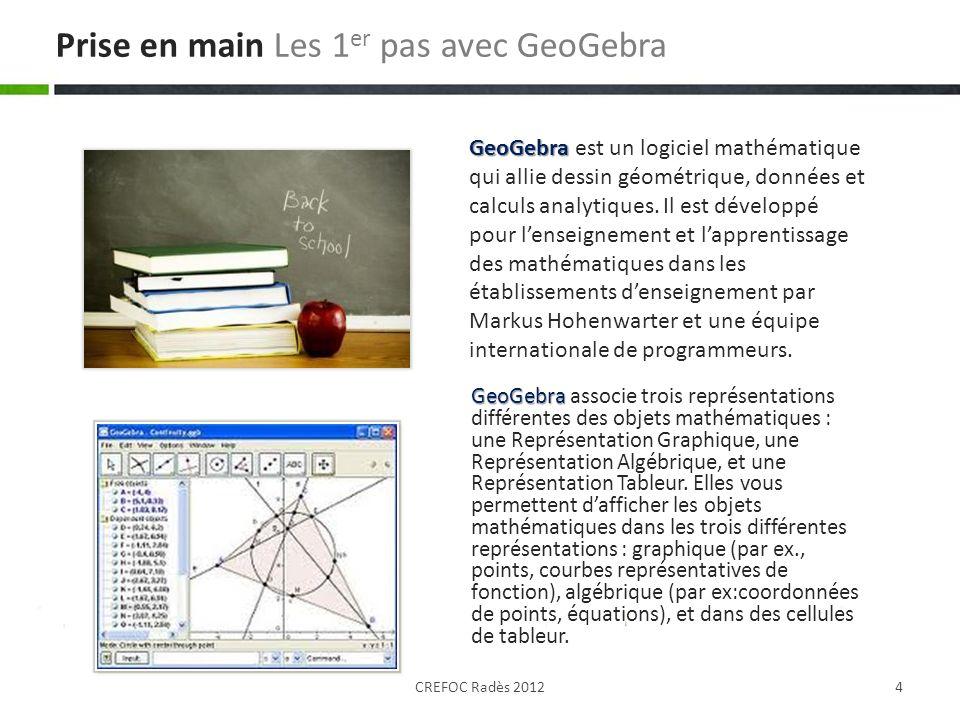GeoGebra GeoGebra associe trois représentations différentes des objets mathématiques : une Représentation Graphique, une Représentation Algébrique, et