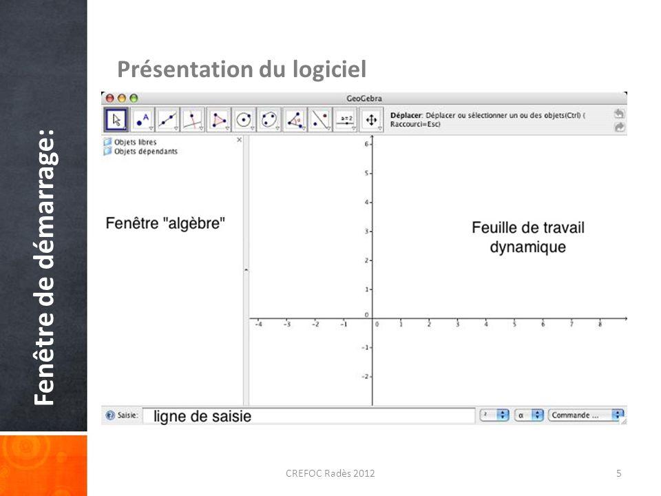 Fenêtre de démarrage: Présentation du logiciel CREFOC Radès 20125