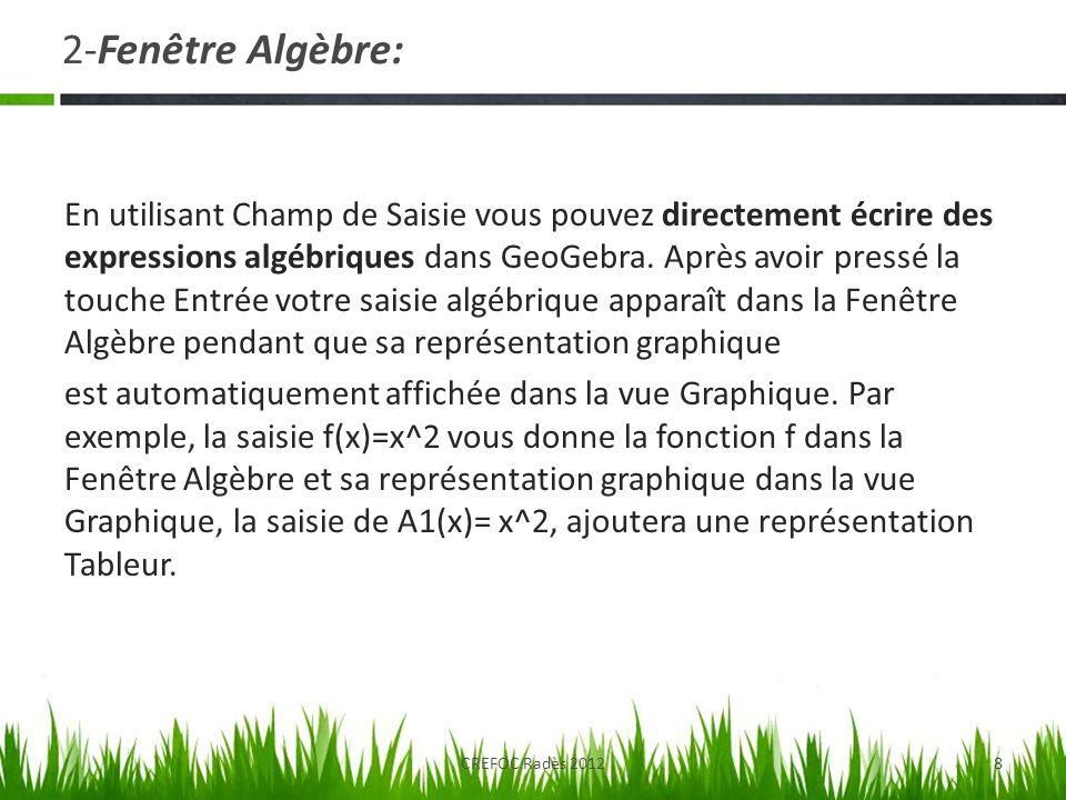 2-Fenêtre Algèbre: En utilisant Champ de Saisie vous pouvez directement écrire des expressions algébriques dans GeoGebra. Après avoir pressé la touche