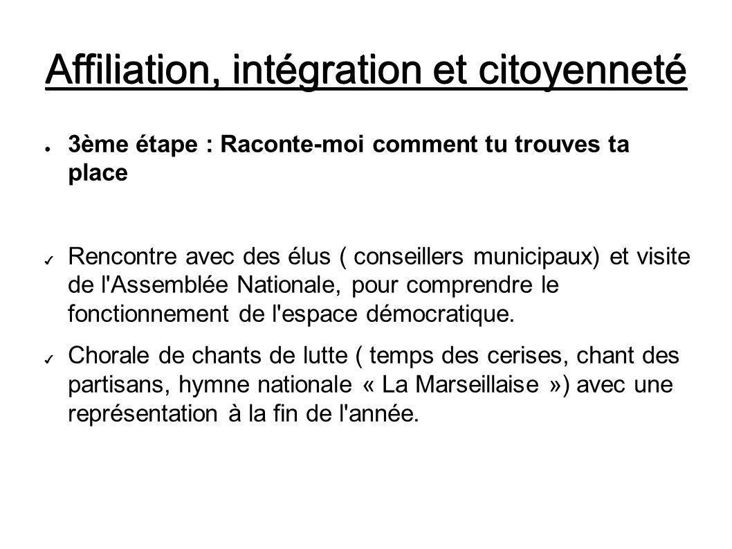 Affiliation, intégration et citoyenneté 3ème étape : Raconte-moi comment tu trouves ta place Rencontre avec des élus ( conseillers municipaux) et visite de l Assemblée Nationale, pour comprendre le fonctionnement de l espace démocratique.