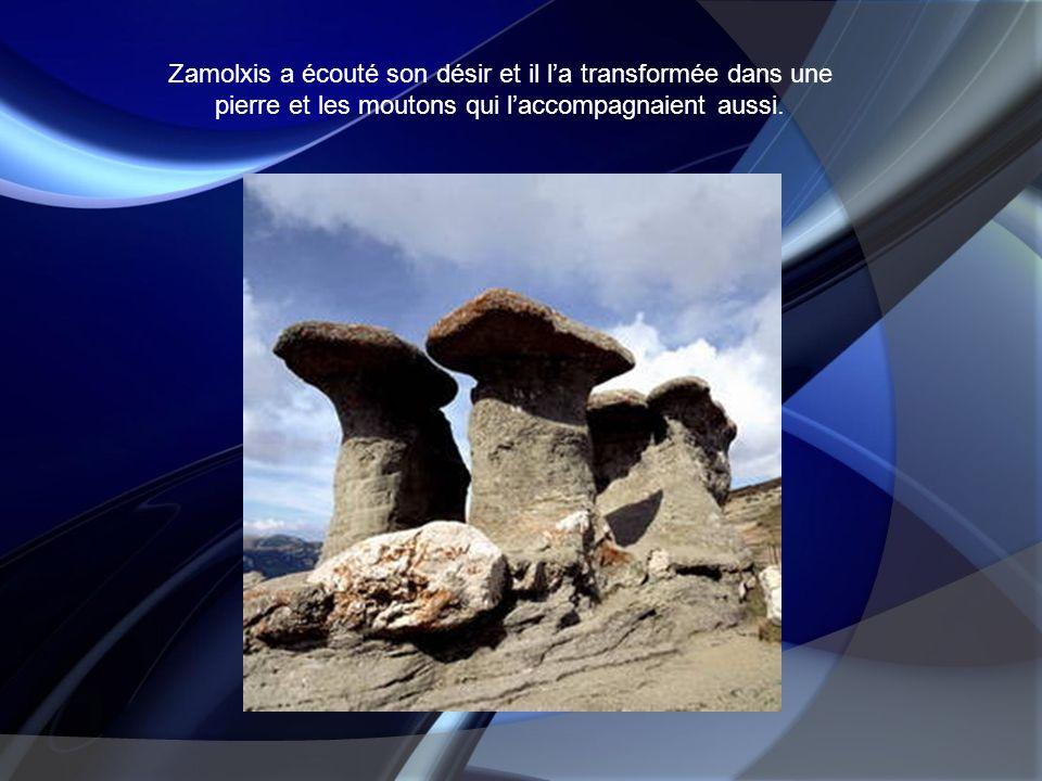 Zamolxis a écouté son désir et il la transformée dans une pierre et les moutons qui laccompagnaient aussi.