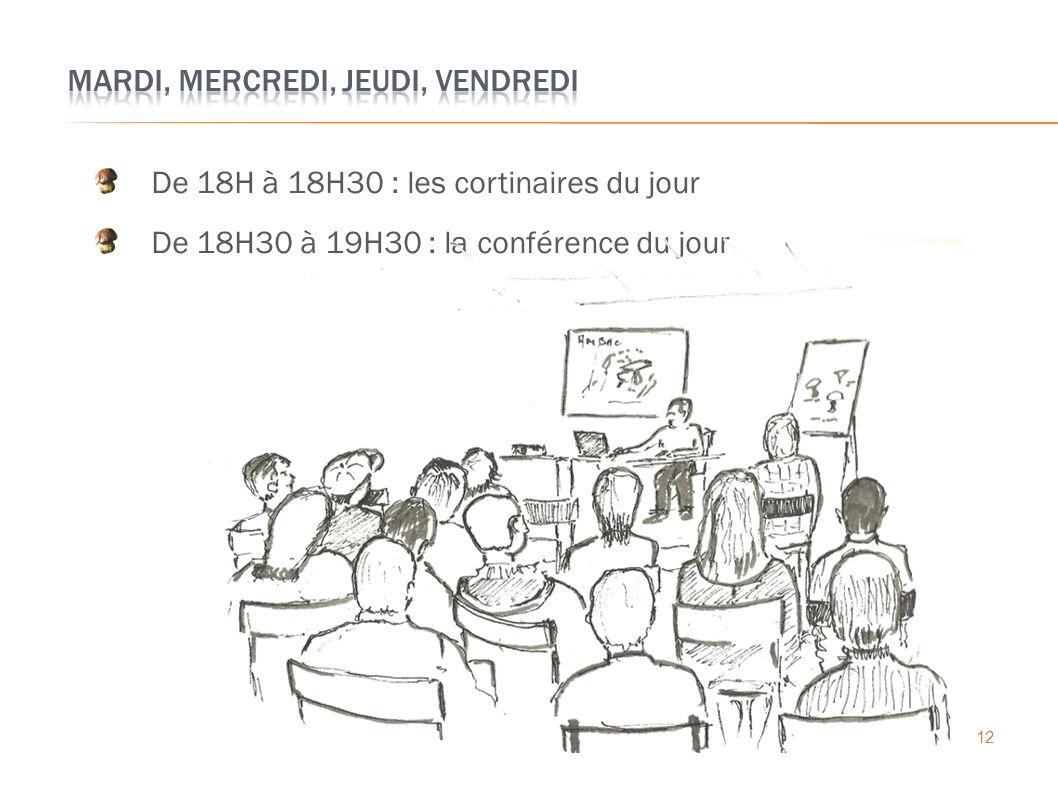 12 De 18H à 18H30 : les cortinaires du jour De 18H30 à 19H30 : la conférence du jour