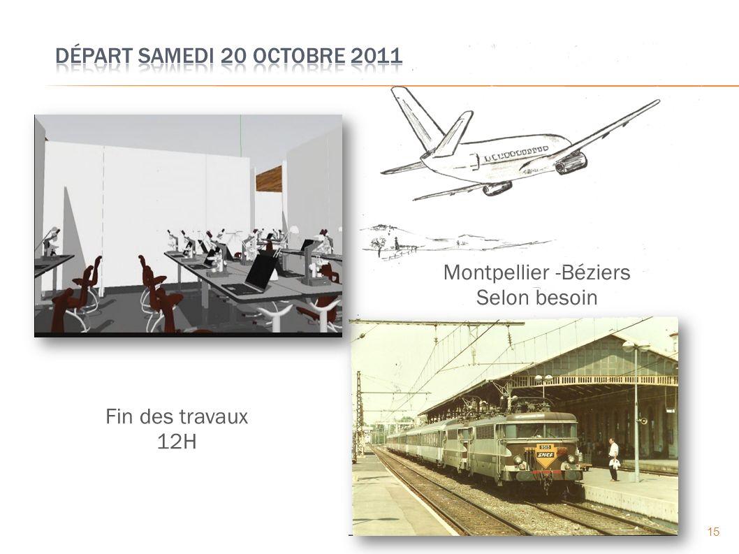 15 Fin des travaux 12H Montpellier -Béziers Selon besoin