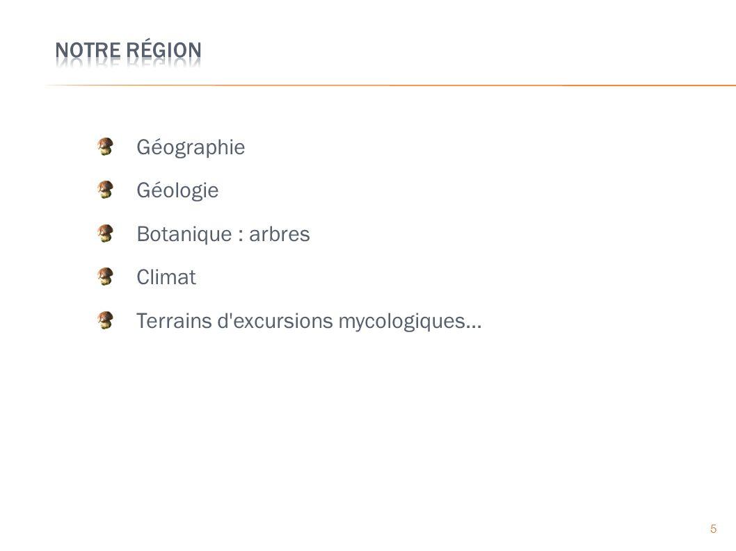 Géographie Géologie Botanique : arbres Climat Terrains d excursions mycologiques... 5