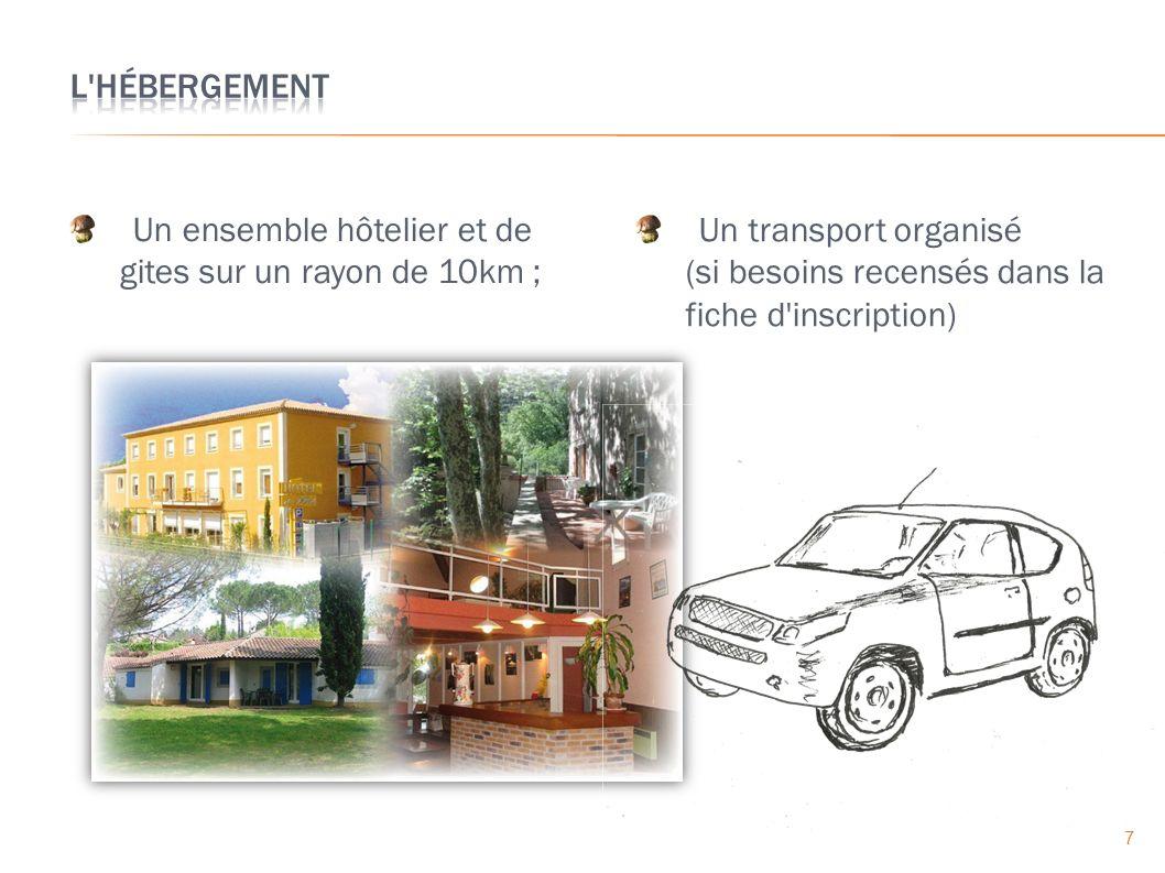 Un ensemble hôtelier et de gites sur un rayon de 10km ; Un transport organisé (si besoins recensés dans la fiche d inscription) 7