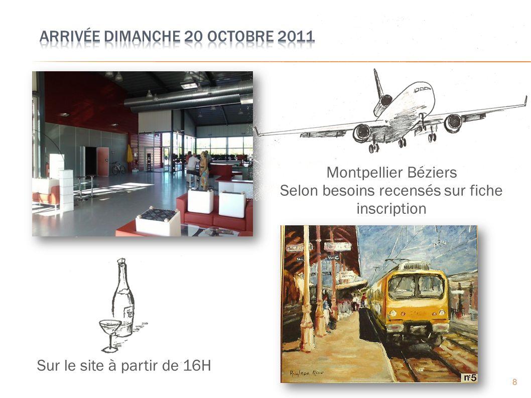8 Sur le site à partir de 16H Montpellier Béziers Selon besoins recensés sur fiche inscription