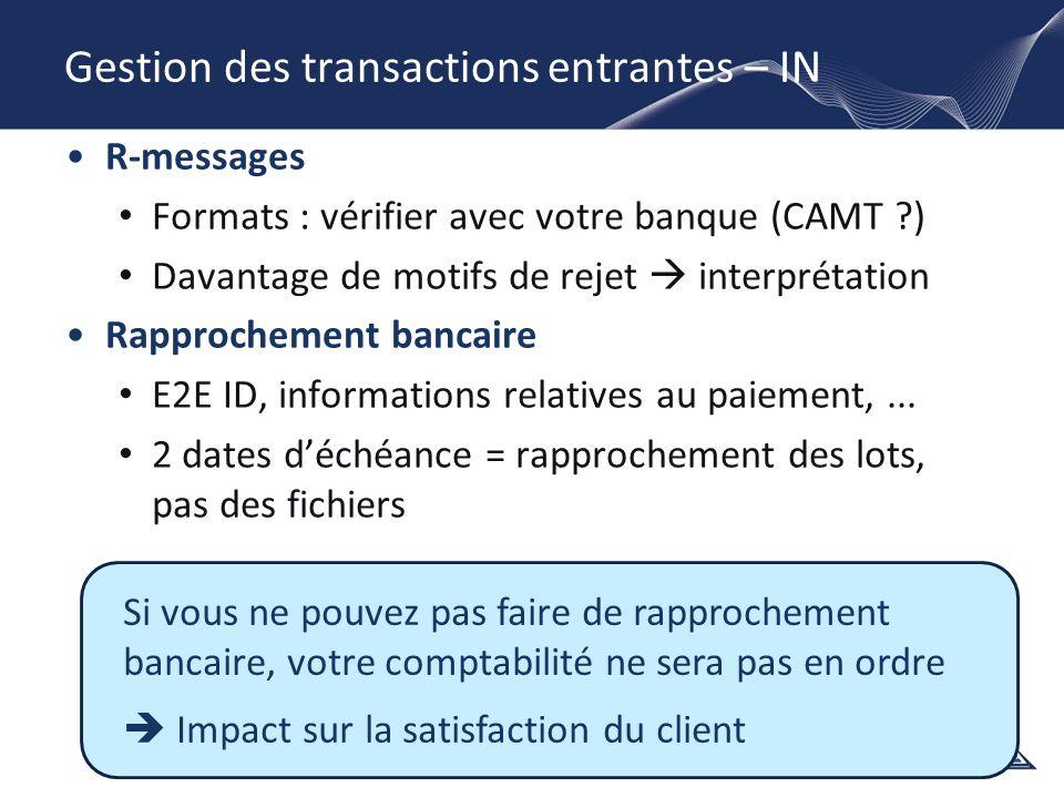 Gestion des transactions entrantes – IN R-messages Formats : vérifier avec votre banque (CAMT ?) Davantage de motifs de rejet interprétation Rapproche