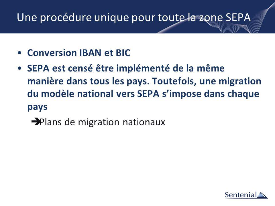 Une procédure unique pour toute la zone SEPA Conversion IBAN et BIC SEPA est censé être implémenté de la même manière dans tous les pays. Toutefois, u