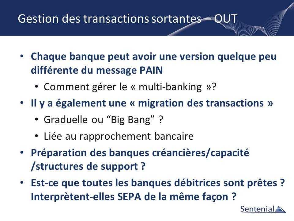 Gestion des transactions sortantes – OUT Chaque banque peut avoir une version quelque peu différente du message PAIN Comment gérer le « multi-banking