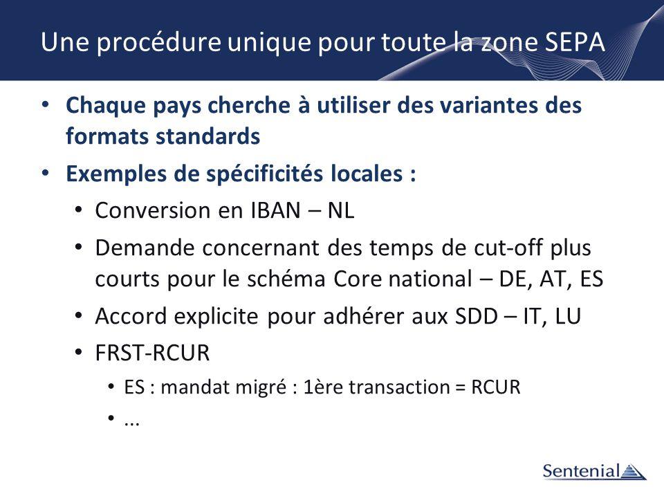 Une procédure unique pour toute la zone SEPA Chaque pays cherche à utiliser des variantes des formats standards Exemples de spécificités locales : Con