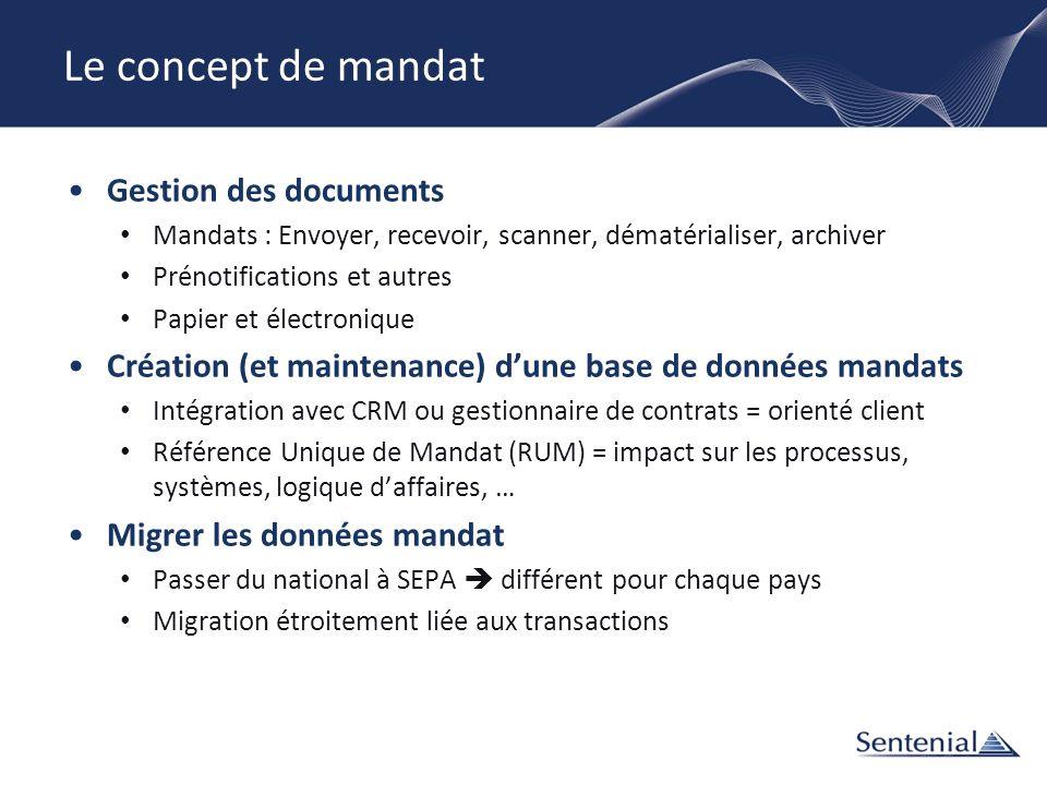 Le concept de mandat Gestion des documents Mandats : Envoyer, recevoir, scanner, dématérialiser, archiver Prénotifications et autres Papier et électro