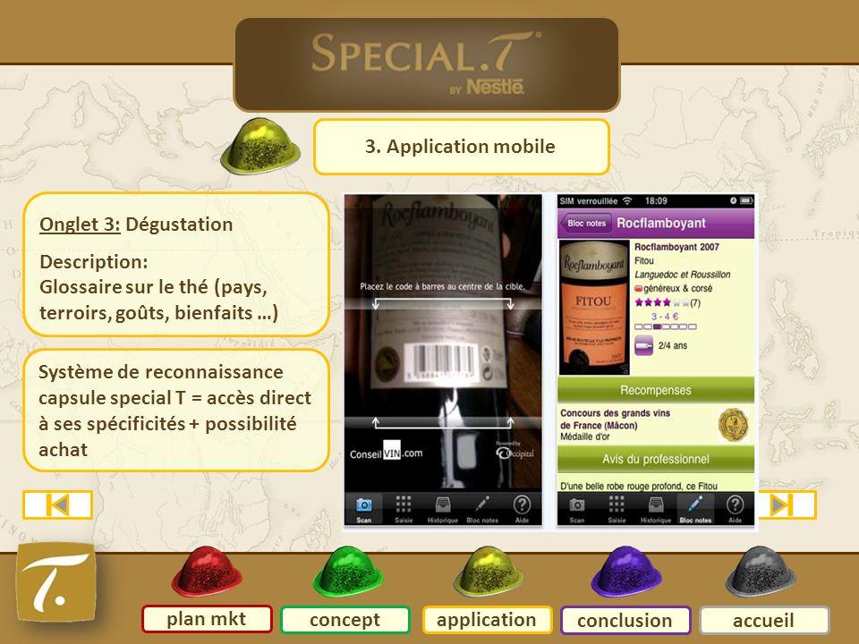 4 Application mobile 3. Application mobile plan mkt conceptapplication conclusionaccueil Onglet 3: Dégustation Description: Glossaire sur le thé (pays