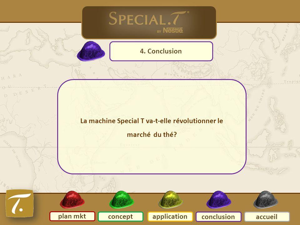 conclusion 4. Conclusion plan mkt conceptapplication conclusionaccueil La machine Special T va-t-elle révolutionner le marché du thé?