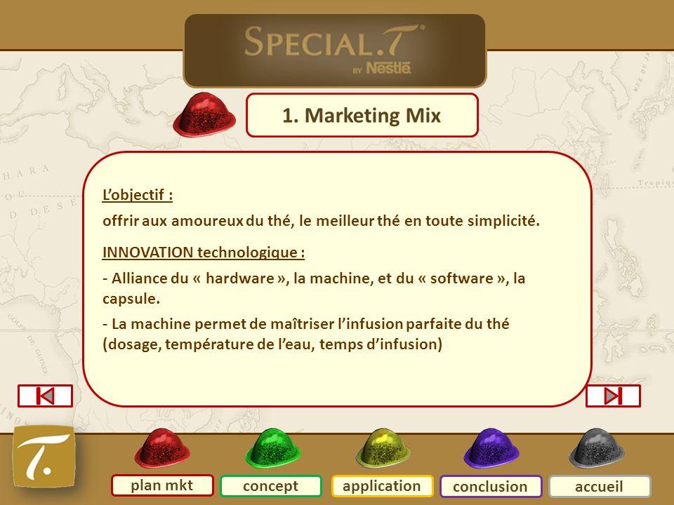 2 Plan mkt 1. Marketing Mix plan mkt conceptapplication conclusionaccueil Lobjectif : offrir aux amoureux du thé, le meilleur thé en toute simplicité.