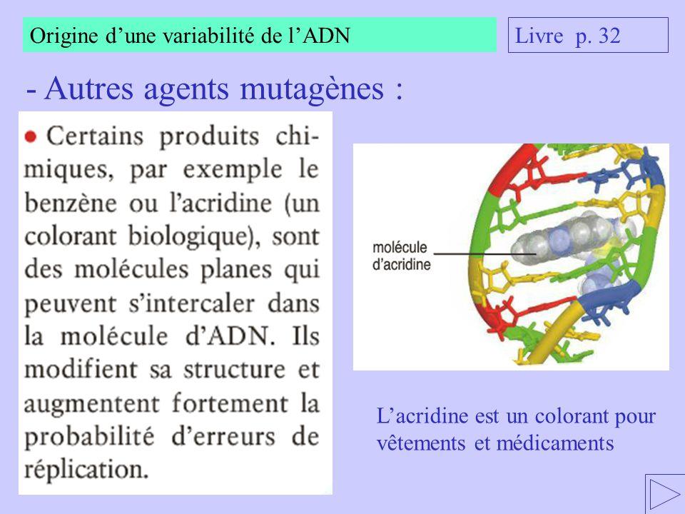 Origine dune variabilité de lADN - Autres agents mutagènes : Lacridine est un colorant pour vêtements et médicaments Livre p. 32