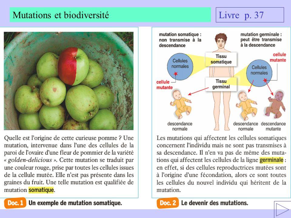 Livre p. 37 Mutations et biodiversité