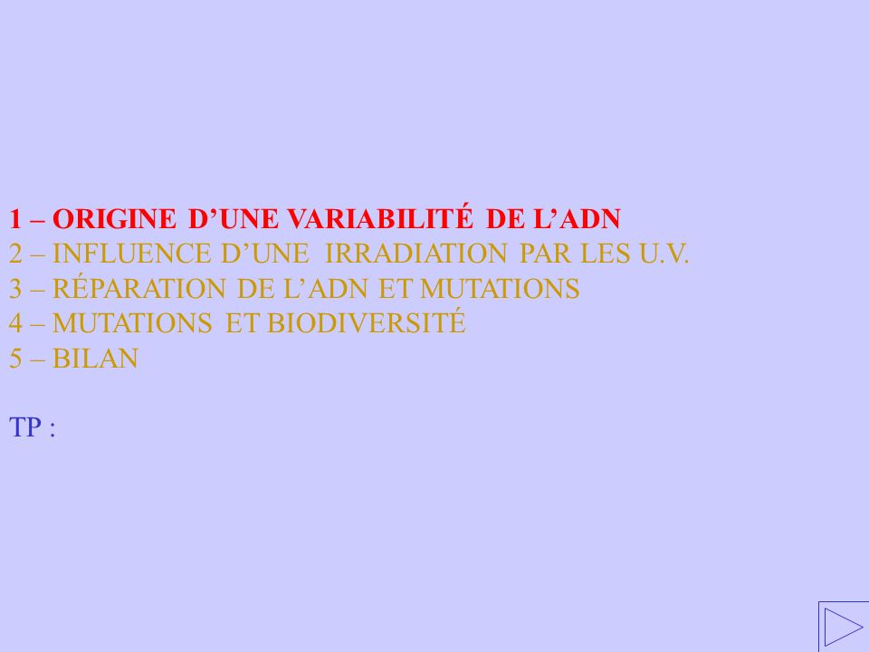 Influence dune irradiation par les UV Carte des index UV en Australie. Livre p. 33