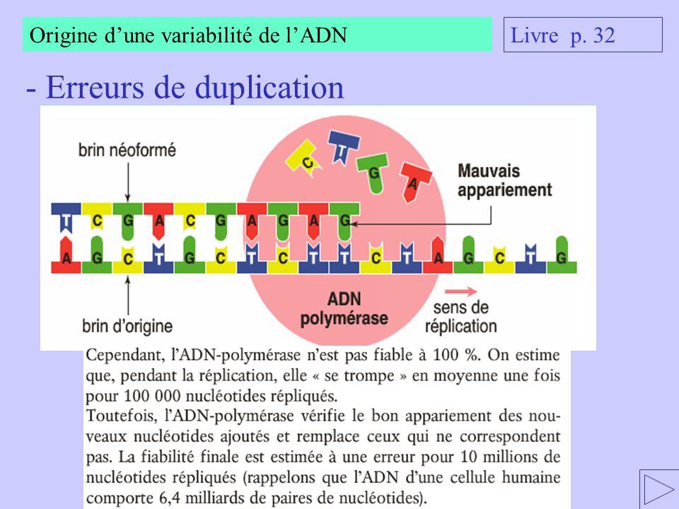 Origine dune variabilité de lADN - Les rayonnements Livre p. 32