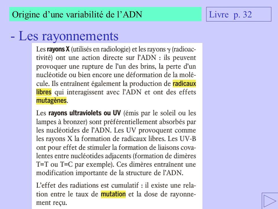 Origine dune variabilité de lADN - Autres agents mutagènes : Lacridine est un colorant pour vêtements et médicaments Livre p.