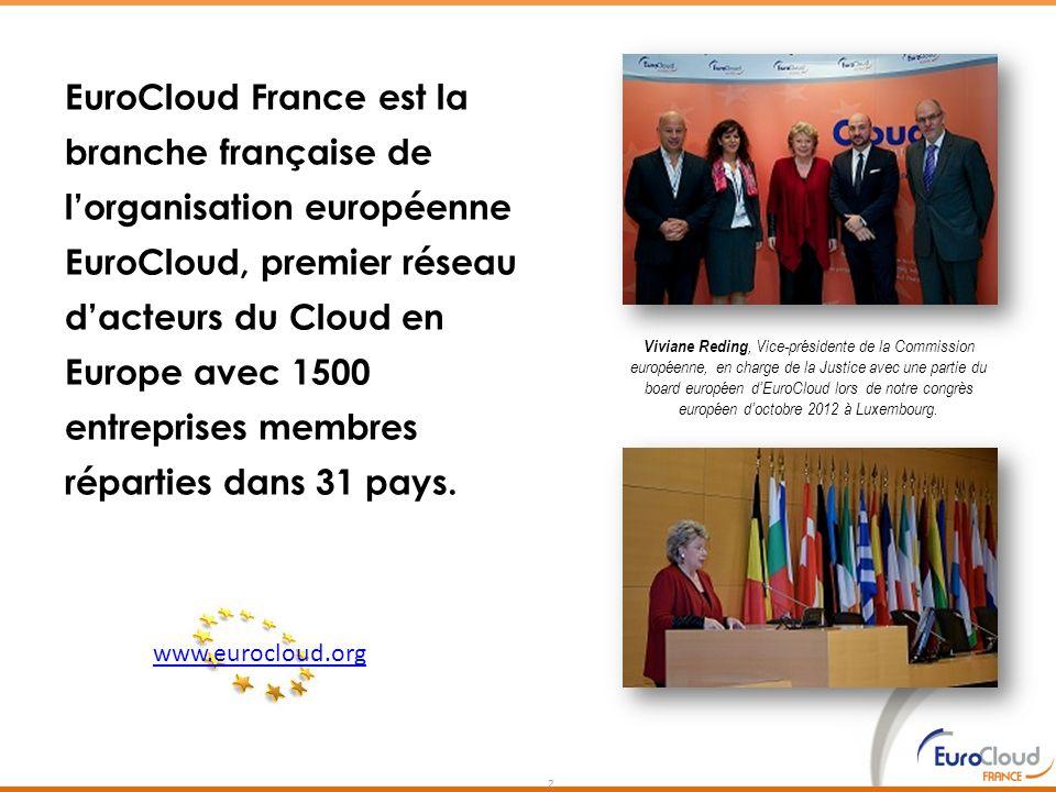 2 EuroCloud France est la branche française de lorganisation européenne EuroCloud, premier réseau dacteurs du Cloud en Europe avec 1500 entreprises me